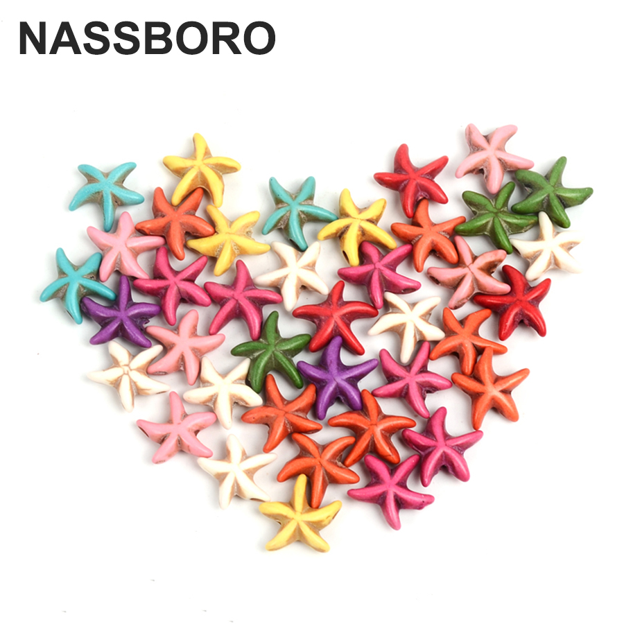 50Pcs 1.3cm*1.3cm Starfish Natural Stone Beads Loose Spacer Beads For Jewelry Making Seed Beads Women DIY Bracelet Gift NASSBORO
