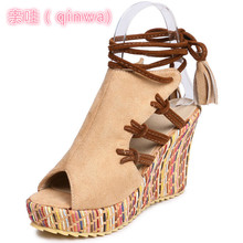Fashion Summer Straw Heeled Shoes 2019 Large Size Suede High Heels Shoes Strap Sandals ankle strap cork heeled suede sandals