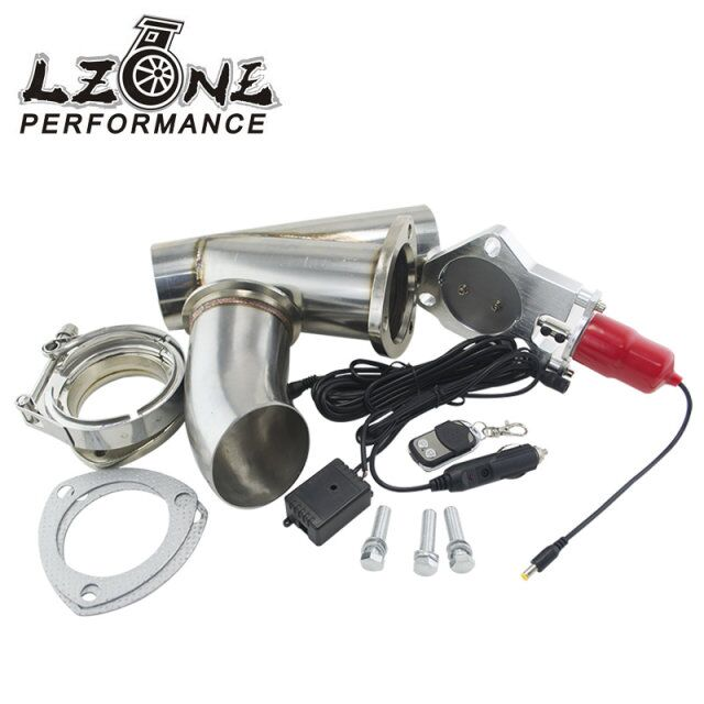 LZONE RACING - 3 Stainless Steel  Headers Electric Exhaust CutOut Kit with Remote control 3inch Exhuast cutout JR5295-30