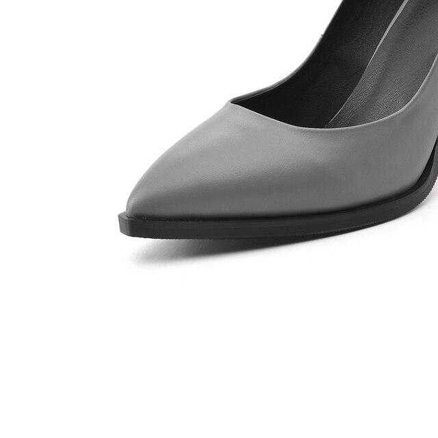 OUQINVSHEN Plum Blossom Appliques Women Pumps Pointed Toe Genuine Leather Ladies Pumps New Elegant High Heels Women Pumps Brand