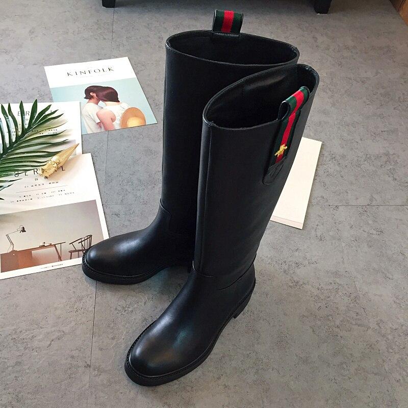 Женские ботинки 2018 осень зима ботинки из натуральной кожи квадратный каблук рыцарские сапоги с круглым носком Дизайн женская обувь сапоги