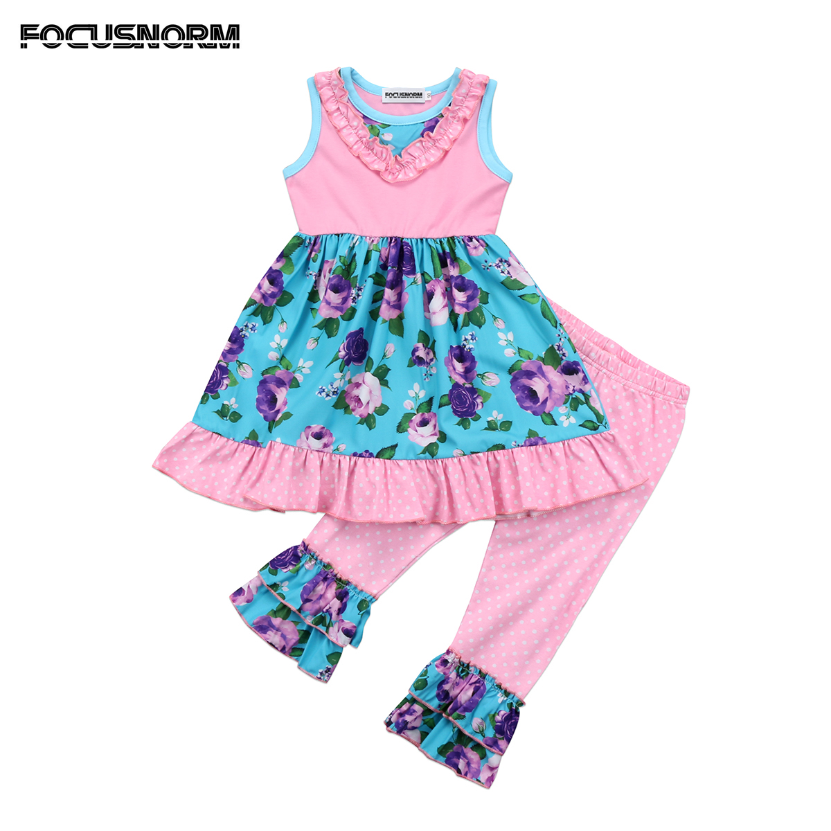 Newborn Toddler Baby Girls Kids Floral Outfits Ruffle Floral Tutu Dress Tops+Long Pants 2Pcs Clothes Set floral baby girls clothes long sleeve sweatshirt pants outfits 2pcs hooded clothes set