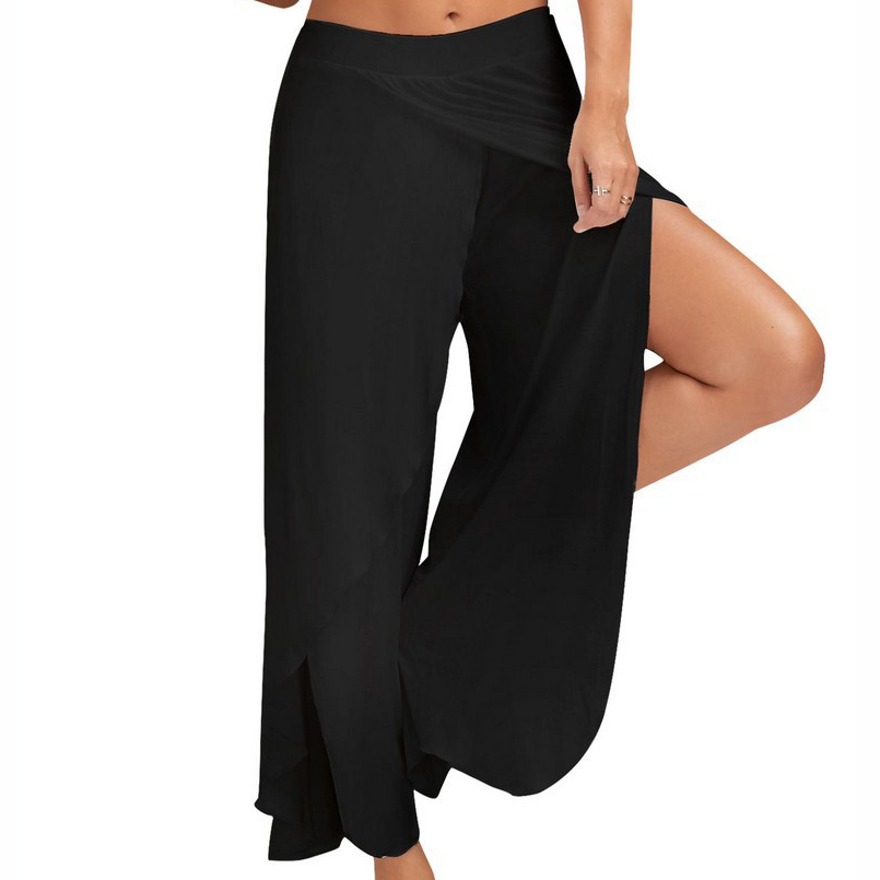 MOBTRS High Split   Wide     Leg     Pants   Women Fashion Beach High Waist Trousers Sexy Casual   Pants   Female
