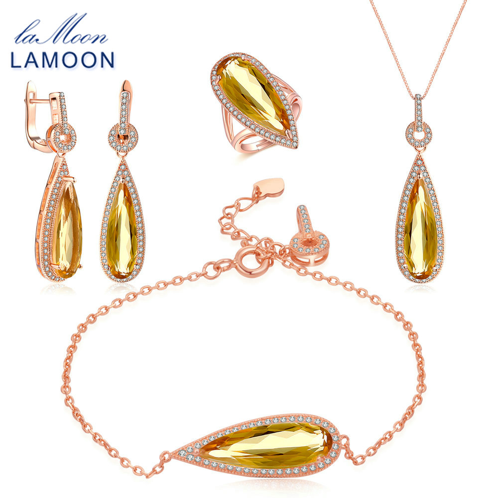 LAMOON Luxury 925-Sterling-Silver 4PCS Jewelry Sets Natural Big Citrine S925 Fine Jewellery for Women Wedding Gift V047-1
