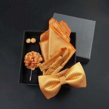цена на 2019 New Gifts for Men Bowtie Pocket Square Paisley Houndstooth Bow Tie Handkerchief Hanky Cufflink Box Set Borboleta Gravata