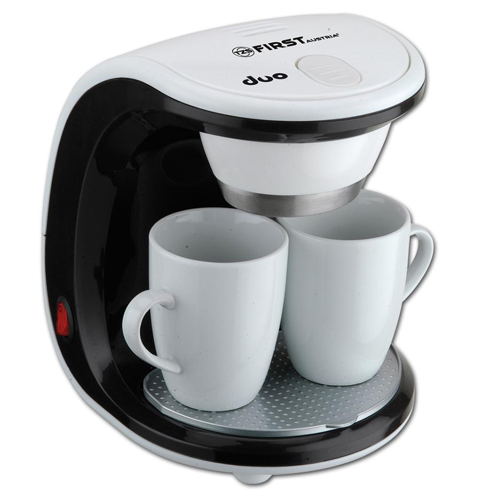 Coffee Maker FIRST FA-5453-2 White/Black (DRIP, kind of coffee ground, power 450 W, capacity 250 ml, 2 porcelain cup included) цена и фото