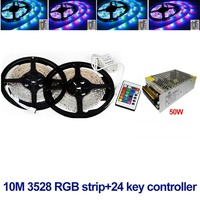 rgb led strip 3528 waterproof ip65 fita de and 24keys ir remote controller and 50w adapter supply 60leds/m