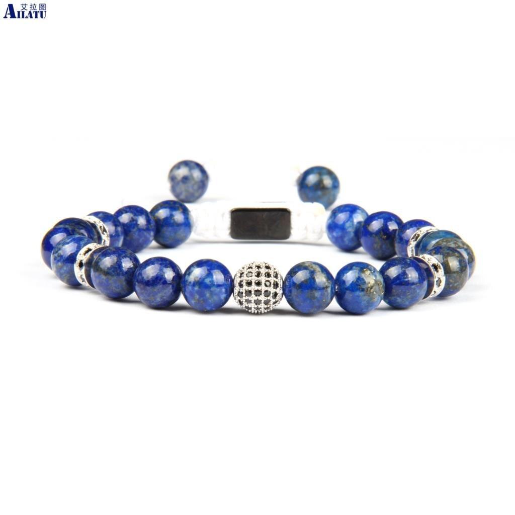 Bracelet en macramé Cz noir et blanc Ailatu avec Lapis Lazuli naturel de 8mm et pierre blanche Howlite de qualité supérieure-in Bracelets ficelle from Bijoux et Accessoires    1