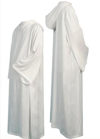 Купить с кэшбэком BLESSUME Catholic White Alb Vestments Solid Robe Church Clergy Vestments Catholic Cassock Priest Chasuble Cope Robe cattolico