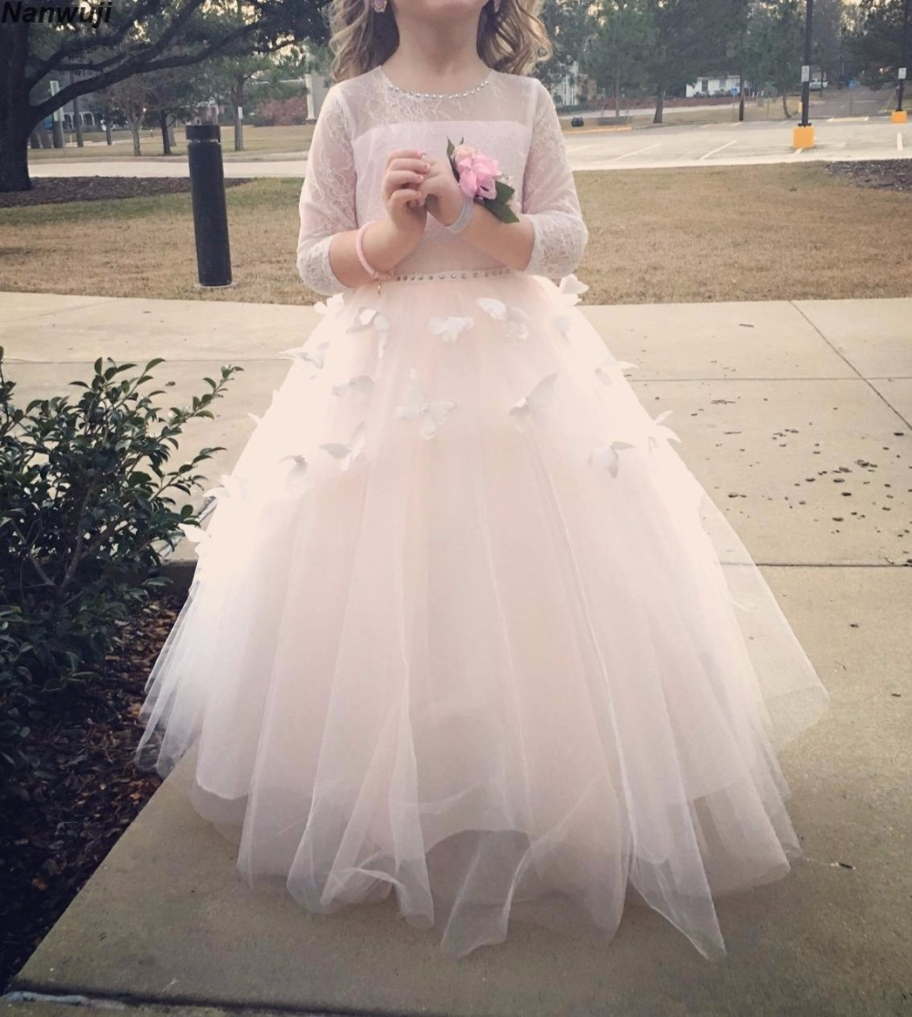 2018 Lace   Flower     Girl     Dresses   Long Sleeve for Weddings Champagne Kids Gown First Communion   Dress   Long Sleeves Pink Prom gown