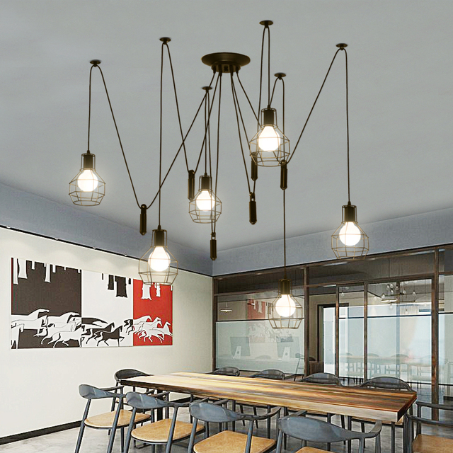 Iron cage spider Chandelier Loft Vintage industrial lifting pulley light Edison Lamps for Dining Room Creative Lighting 3/5/6/8