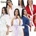 RB090 Женщин Шелковый Атлас Ночь Халат Сплошной Кимоно Одеяние Мода Банный Халат Сексуальный Халат Пеньюар Femme Свадьбы Невеста Невесты халат