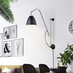 Nordic żelaza huśtawka lampa ścienna z długim ramieniem salon obok lampy nowoczesne kinkiety LED kinkiet Arandela Apliques Pared