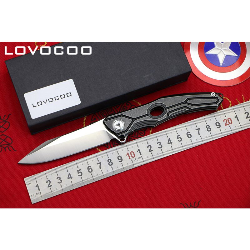 LOCOVOO ST-28 Original D2 blade Titanium handle Flipper folding knife Outdoor camping hunting pocket knives Survival EDC tools green thorn made dark flipper folding knife d2 titanium blade g10 handle outdoor survival hunting camping fruit knife edc tools