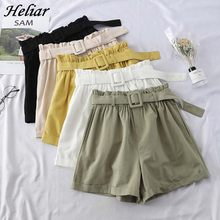 HELIAR Cargo Shorts Female Shorts Femenino Casual Chic Sashes Short With Sashes 2019 Women Outwear Solid White Wide Leg Shorts(China)