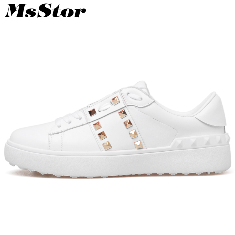MsStor Round Toe Cross tied Women Flats Casual Fashion Rivet Ladies Solid Flat Shoes 2018 Spring Women Flats White Brand Shoes eiswelt shoes spring summer fashion rivet flats party pointed flock women shoes wedding shoes glitter flat ladies shoes zjf84