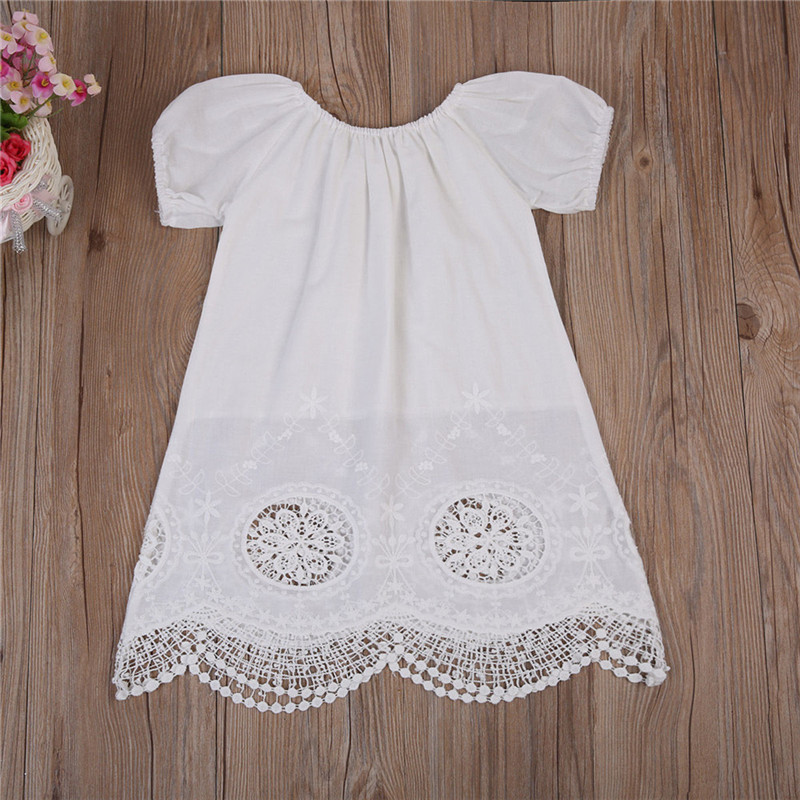 High Quality Toddler Baby Kids Girls Clothes Summer Short Sleeve Dress Casual White Cotton Dress 0 to 4T 2017 summer toddler kids girls striped baby romper off shoulder flare sleeve cotton clothes jumpsuit outfits sunsuit 0 4t