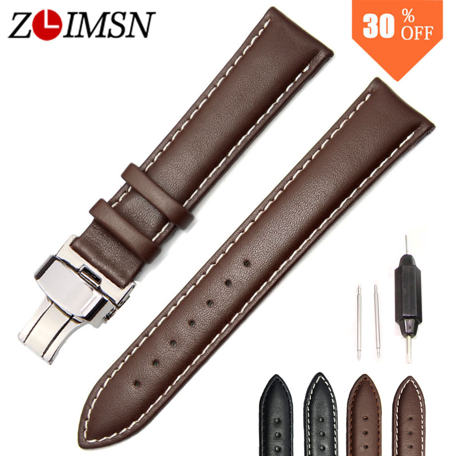 ZLIMSN Genuine Leather Watchbands for Tissot Black Brown Watch Strap Silver Butterfly Clasp 20 22 24 26mm Watches Accessiores edcgear abs double sides slim money clip card holder