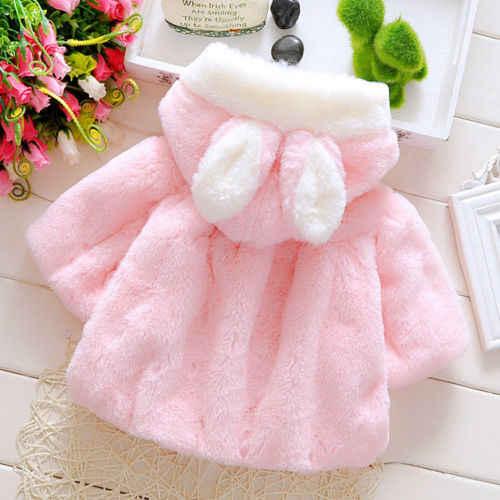 Invierno recién nacido chico chica de Orejas de conejo abrigo capa chaqueta Snowsuit ropa