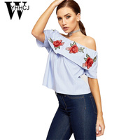 WYHHCJ 2017 Elegant Embroidery Flowers Women Blouse Off Shoulder Shirt Short Sleeve Summer Blusas Ruffles Stripe