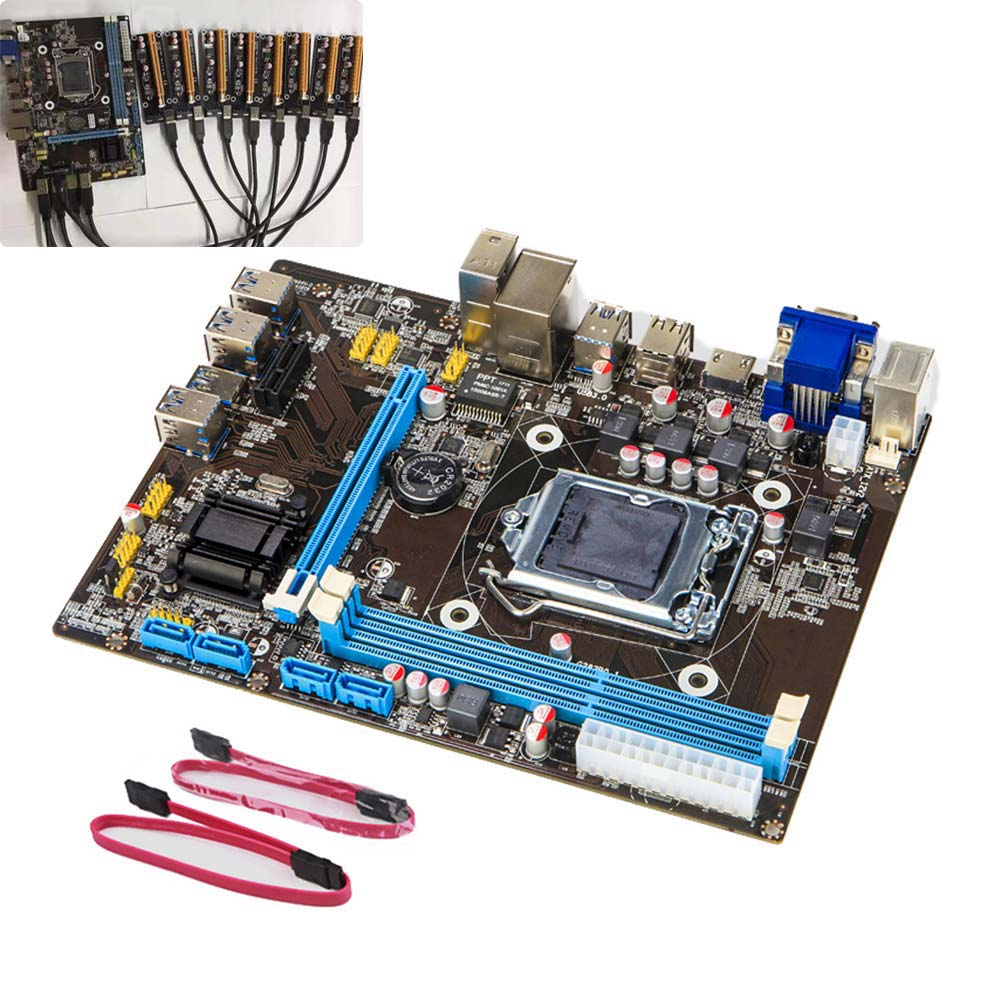 1 set B85 BTC+ETH Mining Bitcoin 8 PCI-E USB3.0 Directly Slots Mainboard for Intel EM88 prypto bitcoin for dummies