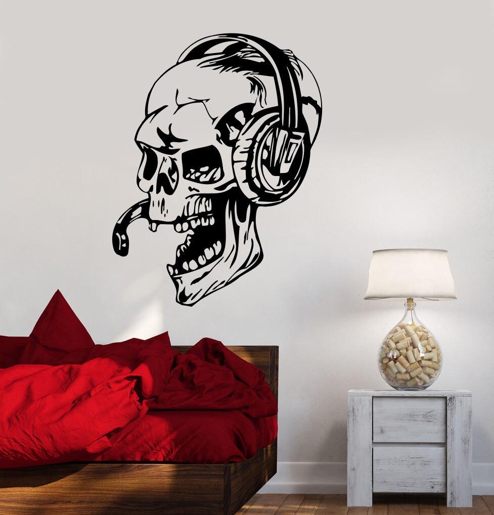 autocollants muraux en vinyle autocollants muraux pour jeux video crane de gamer casque d ecoute jeux video