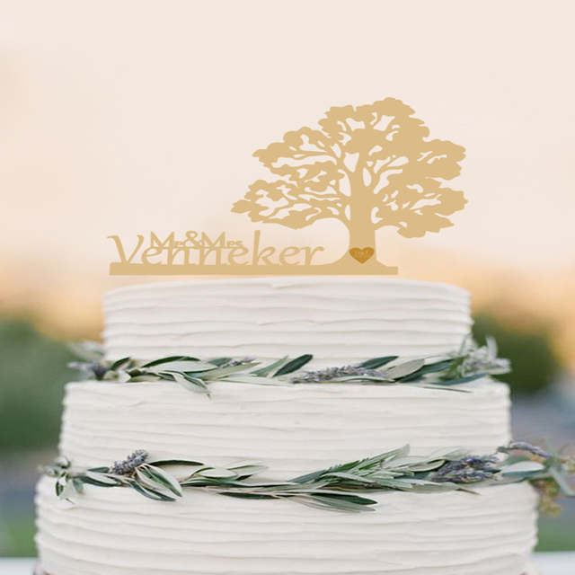 Tree Wedding Cake Topper Personalized Wood Cake Topper Rustic Cake ...