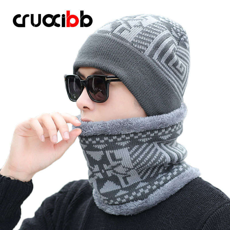 Beanie Men Gometric Shape Fur Winter Hat with Scarf Set Warm Skull Knitted Caps Snow Cap Ski Hats Soft Fashion New Arrivals zea rtm0911 1 children s panda style super soft autumn winter wear cap scarf set blue