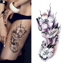 2017 Waterproof temporary tattoos stickers sexy romantic dark Purple Flowers henna fake body art flash tattoo sleeve(China)