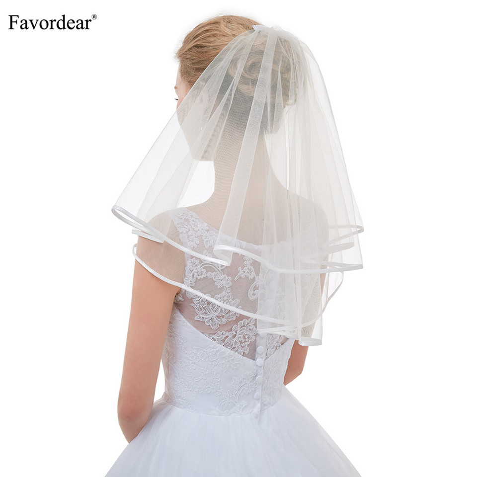 Favordear Top Quality Cute Short Veils For Short Hair Brides Flower Girl Veils Ivory Simple Ribbon Edge Wedding Veil For Brides Bridal Veils Aliexpress