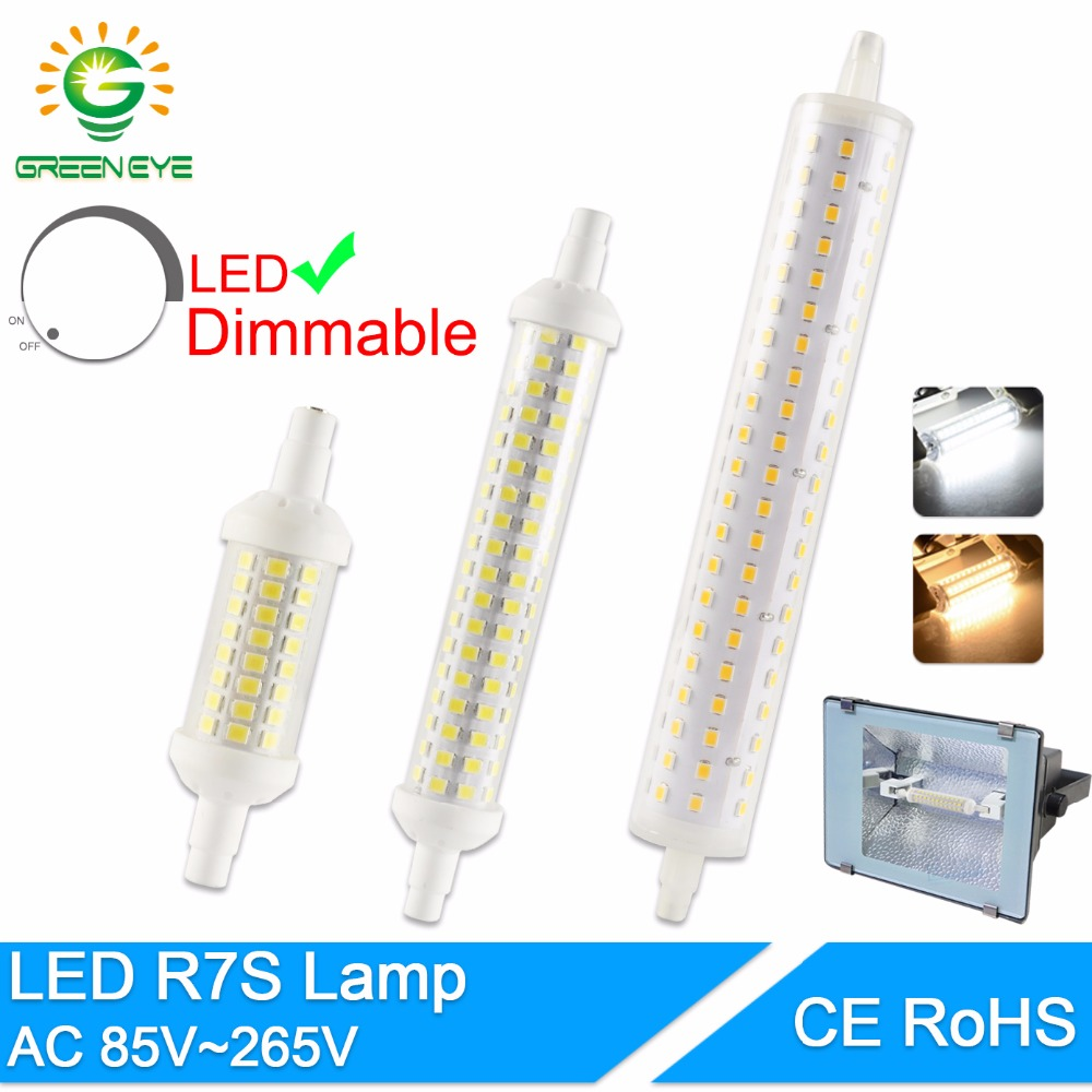 Green Eye R7S J78 J118 J135 Led Bulb Dimmable Corn Lamp 78mm 118mm 189mm Replace Halogen 50W Floodlight Spot Light AC 110V 220V high power dimmable 189mm led r7s light 50w cob r7s led lamp with cooling fan replace 500w halogen lamp