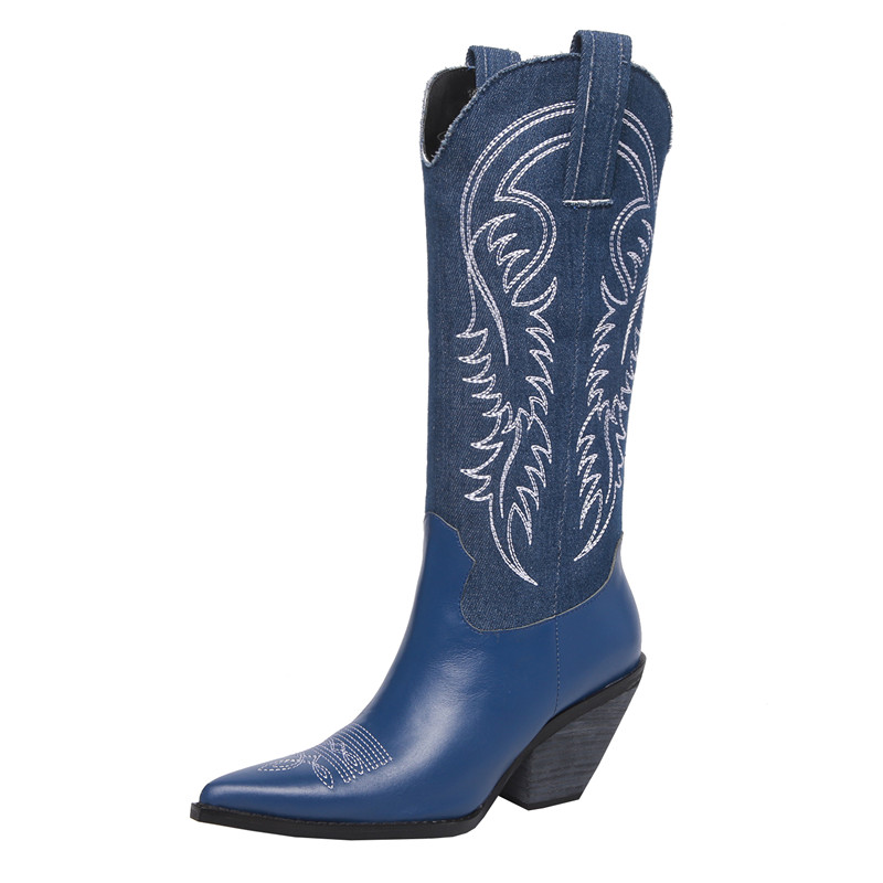 Hot Fashion Vintage Western Embroider Cowboy Boots Women Slip-on Chunky Heels Pointed Toe Knee High Boots Navy Blue Black BootsHot Fashion Vintage Western Embroider Cowboy Boots Women Slip-on Chunky Heels Pointed Toe Knee High Boots Navy Blue Black Boots
