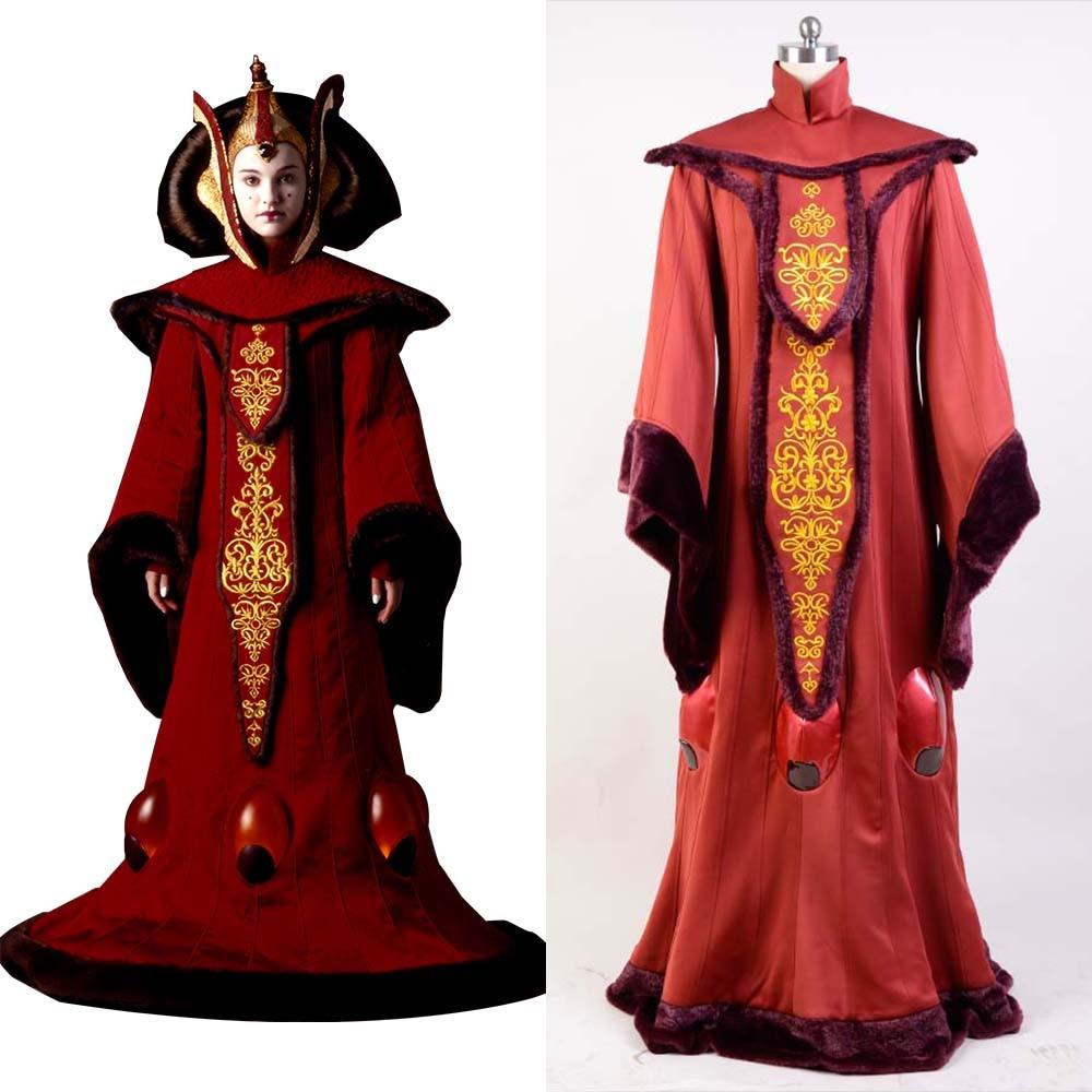 Cosplay Star Wars Episode I  The Phantom Menace Padme Amidala Costume Full Sets Red Uniform Halloween Carnival Costume Cosplay