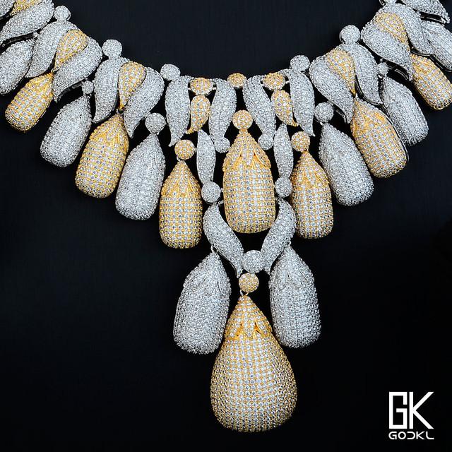 Luxury Flower Tassels Cubic Zirconia Crystal  Jewelry Set