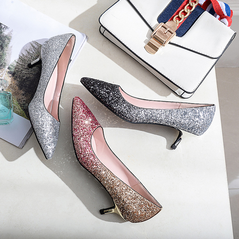 7e39dd280 LUZHIMEI Gradiente de Bling Sapatos de Casamento Das Mulheres Dos Saltos  Altos Das Senhoras Bombas Sexy Partido Moda Sapatos Femininos sapatos de  Noiva ...