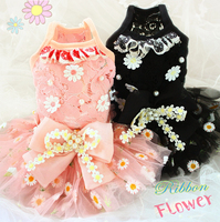Free shipping Adorable handmade dog clothes Daisy hollowed out lace tulle pet princess dress ropa perro mascotas roupa cachorro