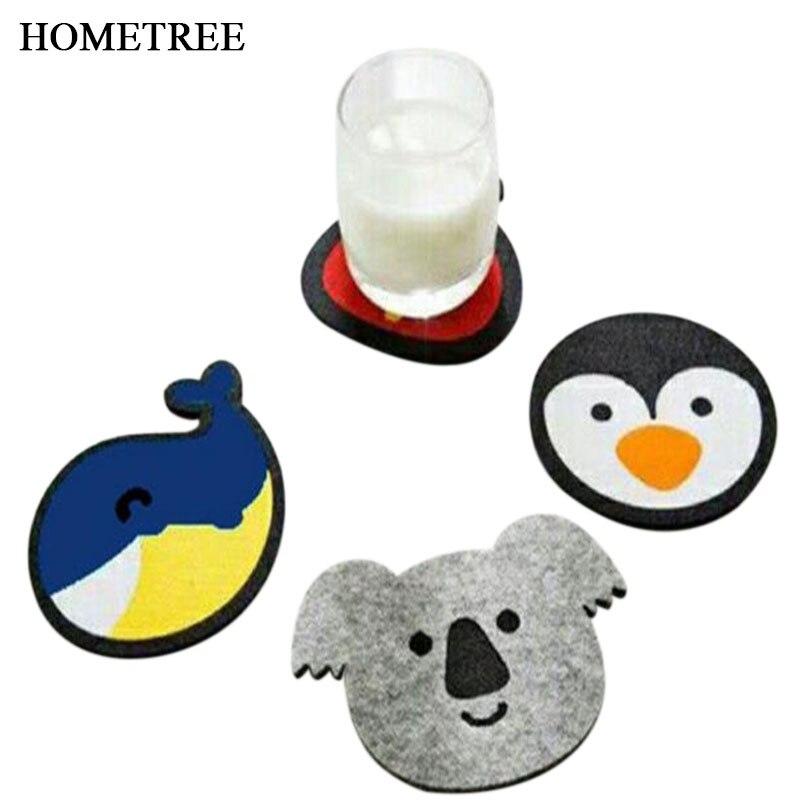 HOMETREE 4Pcs Cartoon Whale Purse Koala Penguin Felt Coaster Non slip Absorbent Insulation Bowl Pad Dining Table Supplies H592 in Mats Pads from Home Garden