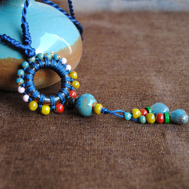 wood and ceramic. Necklace women