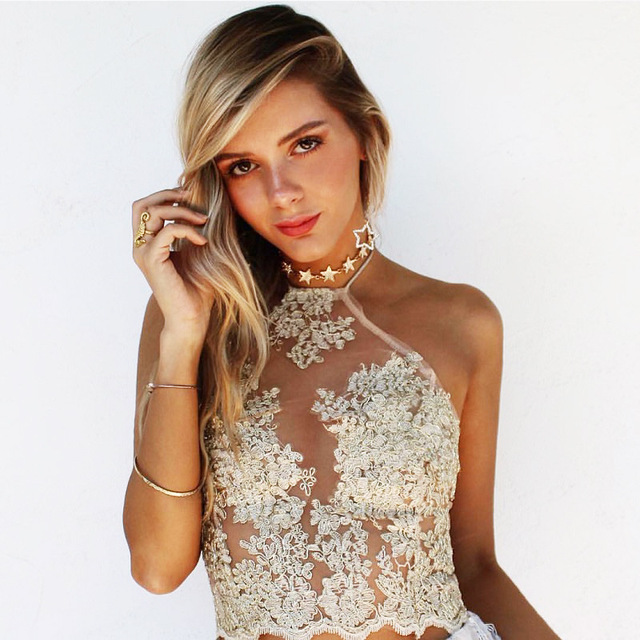 c54782d905b9 Sheer Embroidery Halter Crop Top Women Cropped Tank blusa Blouse Casual Sexy  Lace Camis ropa mujer veste femme Boho Gypsy