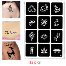 12 pics Henna Tattoo Stencils DIY Jagua Drawing Templates Airbrush Painting Mehndi Body Art Small Flash Tatoo Stencil C27