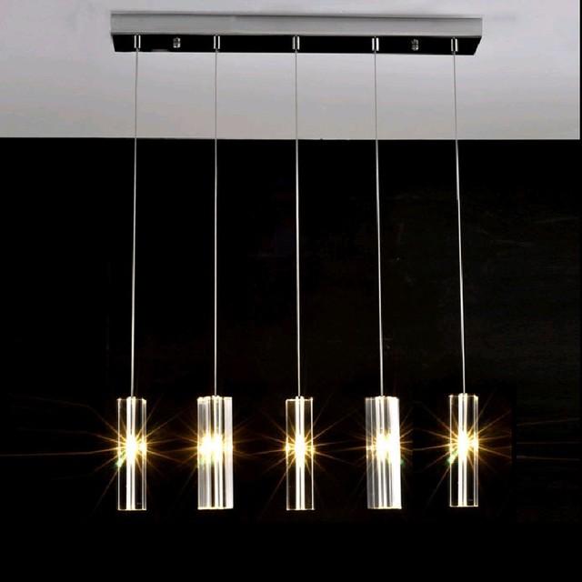 Dining room 5-9 pcs G4 Led light long crystal chandelier lustre de cristal modern lighting bedroom living room Bar Kitchen Light