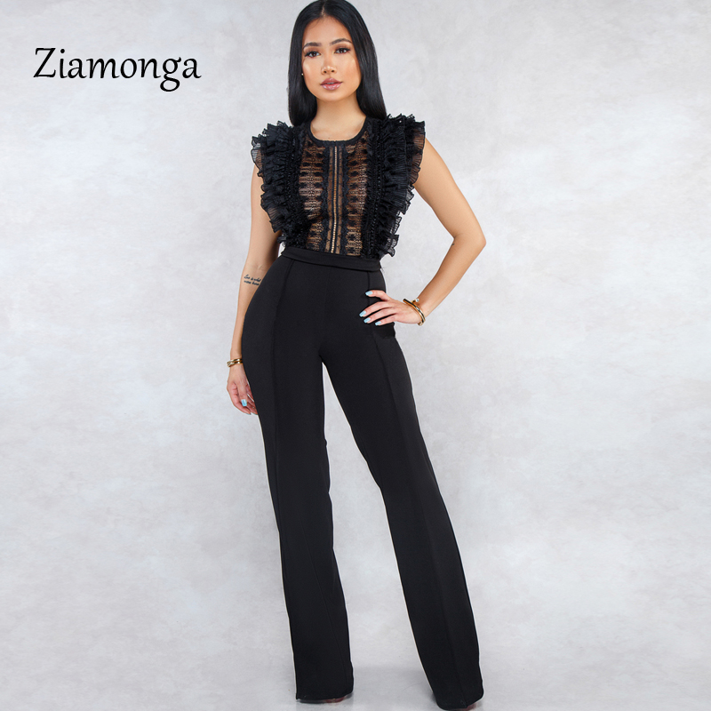 HTB1xR4Zbbr1gK0jSZR0q6zP8XXaD - Ziamonga Women Sexy Jumpsuits Patchwork Lace Mesh Ruffles See Through Transparent Slim Bodysuits Overalls Long Pants Outfits