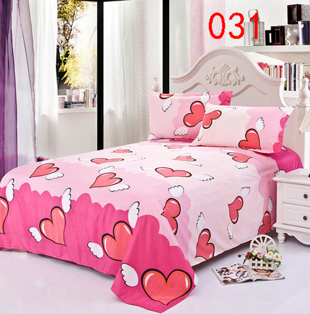Single Double Flat Bed Sheets Bedroom Angel Heart Polyester Twin Full Queen Bed  Linens Bed Sheet