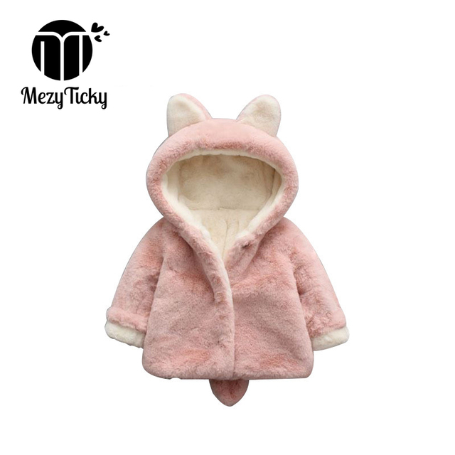 750fb2d43 Spring Children Solid Plush Outerwear Winter Warm Hooded faux fur Coat Baby  Girls flannel Jackets Kids