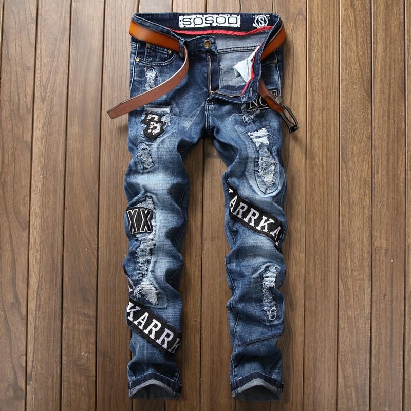 New Letter Designer Man font b Jeans b font Fashion Cutout Blue Trousers