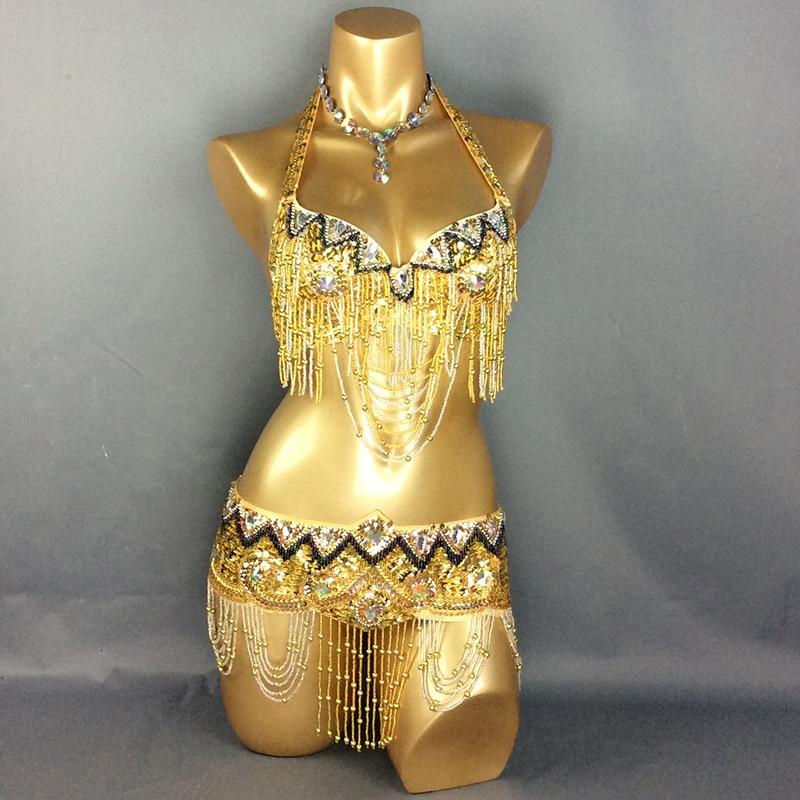 велепродаја нови трбушни плес костим сет БРА + појас 2 комада / сет трбушни плес костим за жене, прихватити БИЛО КОЈИ ВЕЛИЧИНА, Д / ДД / ДДД ЦУП