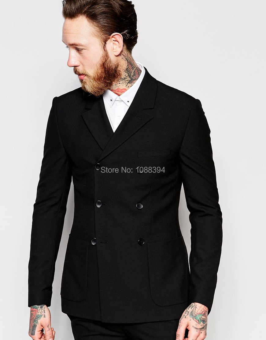 (Jacket+Pant) Handsome Black Double Breasted Mens Suits Wedding Suits For Men Groom Suits Groomsmen Tuxedos Mens Wedding Suits
