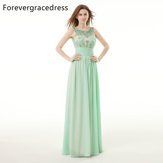 Forevergracedress Real Sample Mint Green Evening Dress New Sleeveless Long  Chiffon Beaded Crystals Formal Party Gown Plus Size dc76c8113d1b