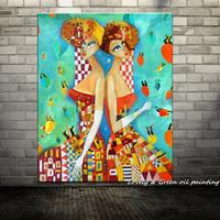 Handpainted Beautiful Twin Girls Modern Oil Paintings On Canvas Wall Painting Wall Art Wall Pictures For Living Room Home Decor