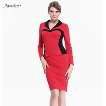 Aamikast Women Dresses Hot Sale Celeb Full Sleeve Patchwork Pencil Party Evening Business Dresses Size S M L XL XXL XXXL